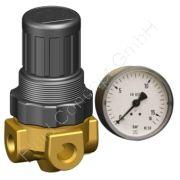 Druckregler für Wasser, G 1/8 Zoll, Messing, Druckregelbereich 0.1-3 bar, ohne Sekundärentlüftung, inkl. Manometer Ø40mm/4bar, NBR-Membrane