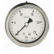 Chemie-Manometer, Edelstahl, Glyzerinfüllung, 1/4 Zoll, Anschluss hinten/axial, Durchmesser 63 mm, Druckbereich 0 bis 10 bar, Güteklasse 1.6, Afriso RF63CHGLY-0/10BAR-1/4-AX-D712