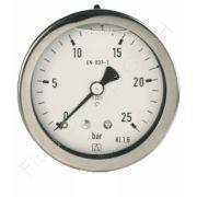 Chemie-Manometer, Edelstahl, Glyzerinfüllung, 1/4 Zoll, Anschluss hinten/axial, Durchmesser 63 mm, Druckbereich 0 bis 16 bar, Güteklasse 1.6, Afriso RF63CHGLY-0/16BAR-1/4-AX-D712