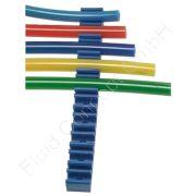 Schlauch- / Rohrklemmleiste, Kunststoff, blau, Klemmzahl 10, für Schlauch-Ø 4mm