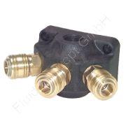 Wanddose/Luftweiche mit Schnellkupplung, G 1/2 Zoll, Kunststoff, 3 Abgänge, Nennweite 7,2 mm