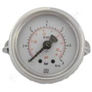 Manometer, Stahl, Schalttafel-/Fronttafeleinbau, 3-kant Frontring, mit Bügelbefestigung, 1/4 Zoll, Anschluss hinten/axial, Durchmesser 63 mm, Druckbereich -1 bis 0 bar, Güteklasse 1.6, Afriso RF63-1/0BAR-1/4-AX-D251