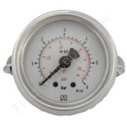 Manometer, Stahl, Schalttafel-/Fronttafeleinbau, 3-kant Frontring, mit Bügelbefestigung, 1/4 Zoll, Anschluss hinten/axial, Durchmesser 63 mm, Druckbereich 0 bis 10 bar, Güteklasse 1.6, Afriso RF63-0/10BAR-1/4-AX-D251