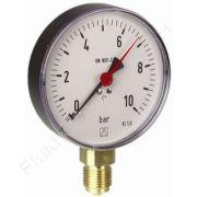 Manometer, Stahl, 1/2 Zoll, Anschluss unten/radial, Durchmesser 100 mm, Druckbereich 0 bis 6 bar, Güteklasse 1.6, Afriso RF100-0/6BAR-1/2-RAD-D201, roter Markenzeiger
