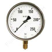 Industrie-Manometer, Edelstahl, 1/2 Zoll, Anschluss unten/radial, Durchmesser 100 mm, Druckbereich 0 bis 2.5 bar, Güteklasse 1.0, Afriso RF100I-0/2,5BAR-1/2-RAD-K1,0-D401, Gewinde Messing