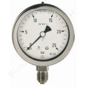 Chemie-Manometer, Edelstahl, Glyzerinfüllung, 1/4 Zoll, Anschluss unten/radial, Durchmesser 63 mm, Druckbereich 0 bis 25 bar, Güteklasse 1.6, Afriso RF63CHGLY-0/25BAR-1/4-RAD-D702