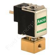 Magnetventil, ASCO/Sirai V165V01, Mini-Ausführung, M5, DN 2, 2-Wege, stromlos geschlossen NC, direkt betätigt, Messing, 24V/DC, 0-4 bar, Dichtung FKM, IP40