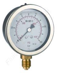 Glyzerin-Manometer, Edelstahl, 1/4 Zoll, Anschluss unten/radial, Durchmesser 63 mm, Druckbereich 0 bis 25 bar, Güteklasse 1.6, Afriso RF63GLY-0/25BAR-1/4-RAD-D701, Gewinde Messing
