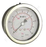 Glyzerin-Manometer, Edelstahl, 1/4 Zoll, Anschluss hinten/axial, Durchmesser 63 mm, Druckbereich 0 bis 4 bar, Güteklasse 1.6, Afriso RF63GLY-0/4BAR-1/4-AX-D711, Gewinde Messing