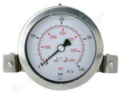 Glyzerin-Manometer, Edelstahl, für Schalttafel-/Fronttafeleinbau, mit Bügelbefestigung, 1/4 Zoll, Anschluss hinten/axial, Durchmesser 63 mm, Druckbereich -1 bis 1.5 bar, Güteklasse 1.6, Afriso RF63GLY-1/+1,5BAR-1/4-AX-D751, Messing