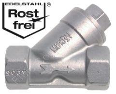 Schrägsitz-Rückschlagventil, G 2 Zoll, DN 44, Edelstahl 1.4408, 40 bar, Dichtung PTFE, Öffnungsdruck 0.1 - 0.3 bar, -20°C bis +200°C, Baulänge nach DIN 3201-M8 150mm