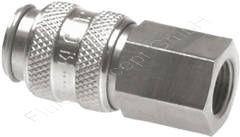 Kupplungsdose mit Innengewinde, G 3/8 Zoll, Edelstahl 1.4305 (AISI303), Nennweite 5 mm, einseitig absperrend