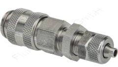 Schott-Kupplungsdose mit Überwurfmutter, Schlauch Ø 6x4mm, Messing vernickelt, Nennweite 5 mm, einseitig absperrend, Schnellverschluss-Kupplungsdose, Schottgewinde M10x1