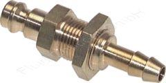 Schott-Kupplungsstecker mit Schlauchtülle, Schlauch Ø 8mm, Messing, Nennweite 5 mm, Schottgewinde M12x1