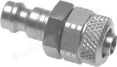 Kupplungsstecker mit Überwurfmutter, Schlauch Ø 8x6mm, Edelstahl 1.4305 (AISI303), Nennweite 5 mm