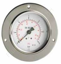 Manometer, Stahl, Schalttafel-/Fronttafeleinbau, 3-Loch Frontflansch, 1/8 Zoll, Anschluss hinten/axial, Durchmesser 40 mm, Druckbereich 0 bis 16 bar, Güteklasse 1.6, Afriso RF40-0/16BAR-1/8-AX-D231