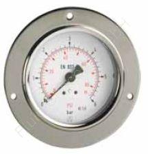 Manometer, Stahl, Schalttafel-/Fronttafeleinbau, 3-Loch Frontflansch, 1/4 Zoll, Anschluss hinten/axial, Durchmesser 50 mm, Druckbereich 0 bis 10 bar, Güteklasse 1.6, Afriso RF50-0/10BAR-1/4-AX-D231