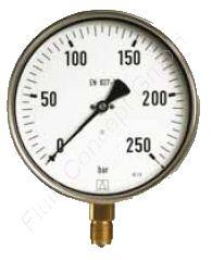 Industrie-Manometer, Edelstahl, 1/2 Zoll, Anschluss unten/radial, Durchmesser 100 mm, Druckbereich 0 bis 6 bar, Güteklasse 1.0, Afriso RF100I-0/6BAR-1/2-RAD-K1,0-D401, Gewinde Messing