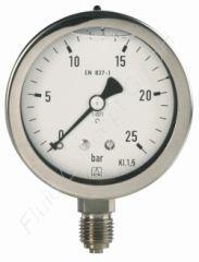 Chemie-Manometer, Edelstahl, Glyzerinfüllung, 1/4 Zoll, Anschluss unten/radial, Durchmesser 63 mm, Druckbereich 0 bis 2.5 bar, Güteklasse 1.6, Afriso RF63CHGLY-0/2,5BAR-1/4-RAD-D702