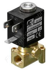 2/2-Wege Magnetventil, G 1/8 Zoll, stromlos geschlossen, direkt betätigt, Messing, 24V/DC, 1.5 bar, Dichtung FKM, DN 4.0