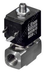 3/2-Wege Magnetventil, G 1/4 Zoll, universal, direkt betätigt, Edelstahl 1.4305 (AISI303), 24V/DC, 4 bar, Dichtung FKM, DN 2.5, R2.4