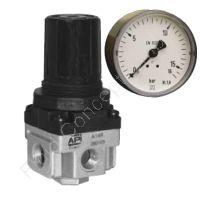 Druckregler, Serie A, G 3/8 Zoll, 0.5-8.5 bar, mit Sekundärentlüftung, Manometer und Mutter