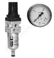 Filterregler, Serie A, G 1/2 Zoll, 0.5-8.5 bar, Schutzkorb, Metall, Halbautomatik, Manometer und Mutter, 25 µm